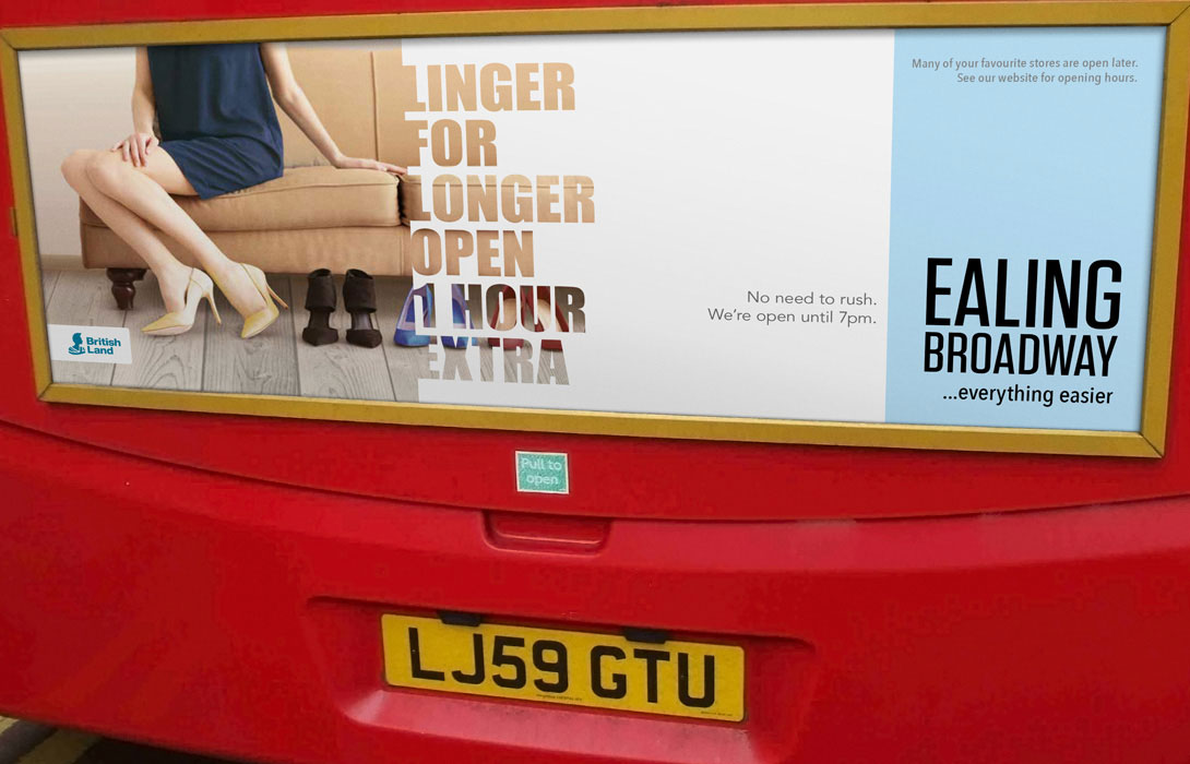 Ealing Broadway Click and Collect campaign bus back