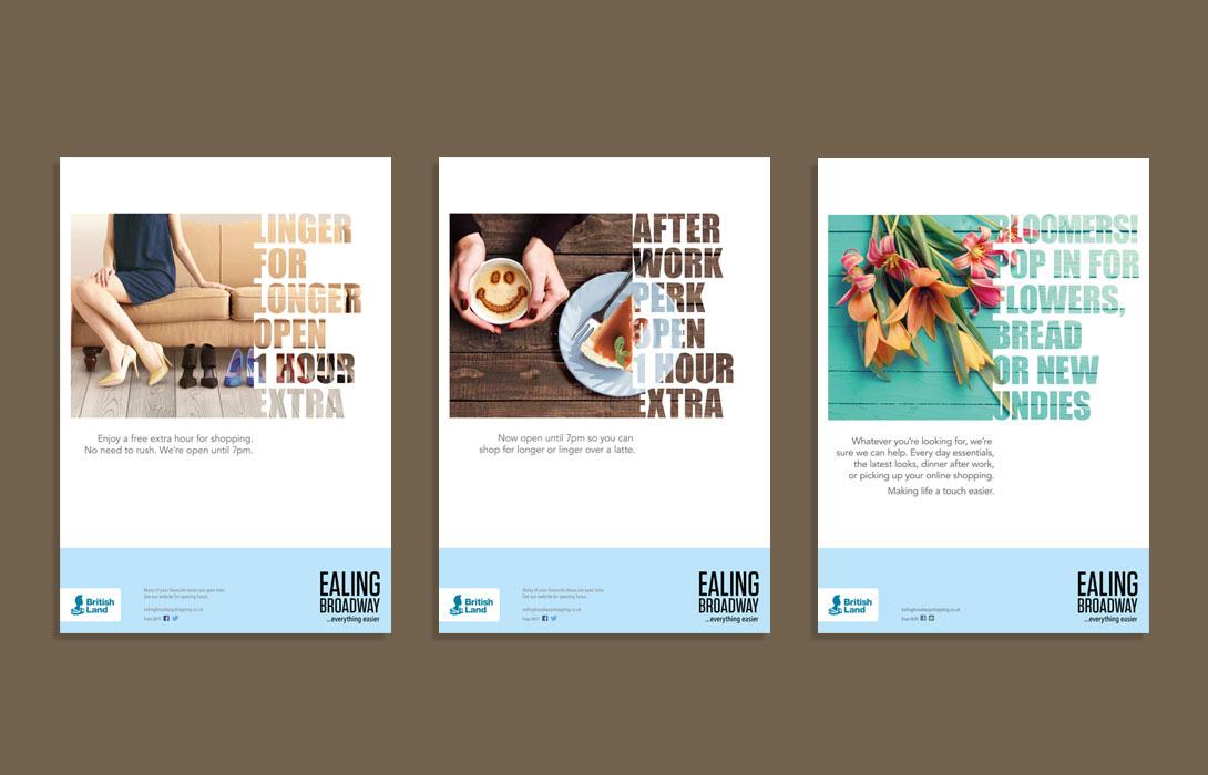 Ealing Broadway Rebrand campaign master adverts