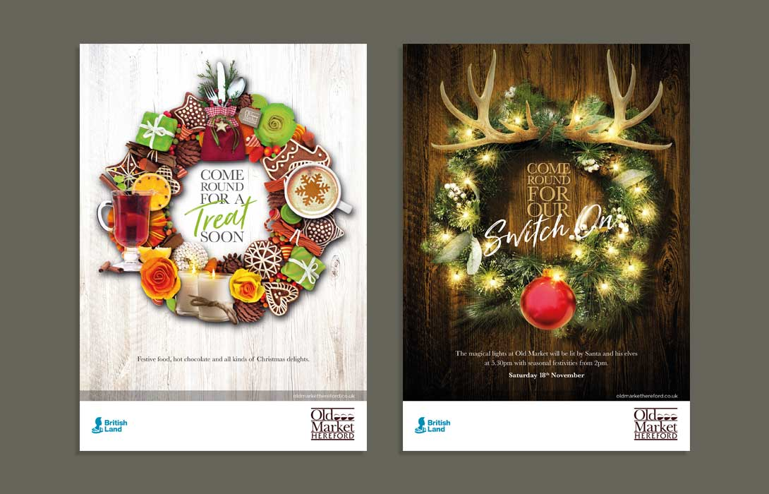 Christmas Campaign adverts for Old Market Hereford