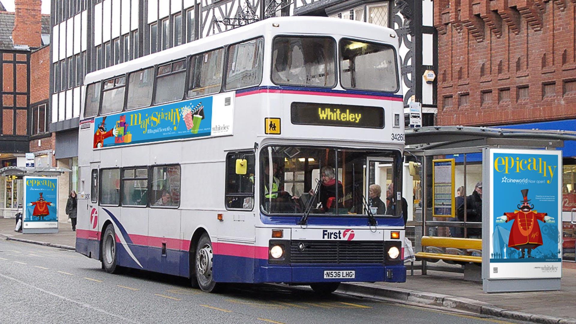 Whiteley Cinema launch Bus side