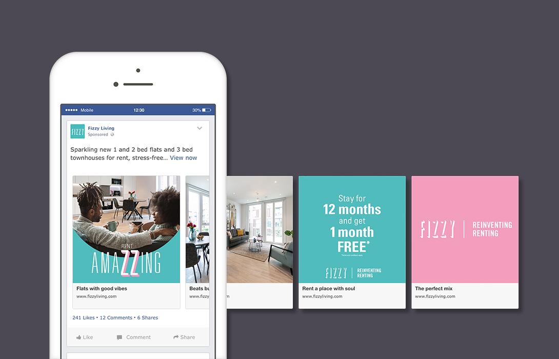 Fizzy Living Facebook carousel social example