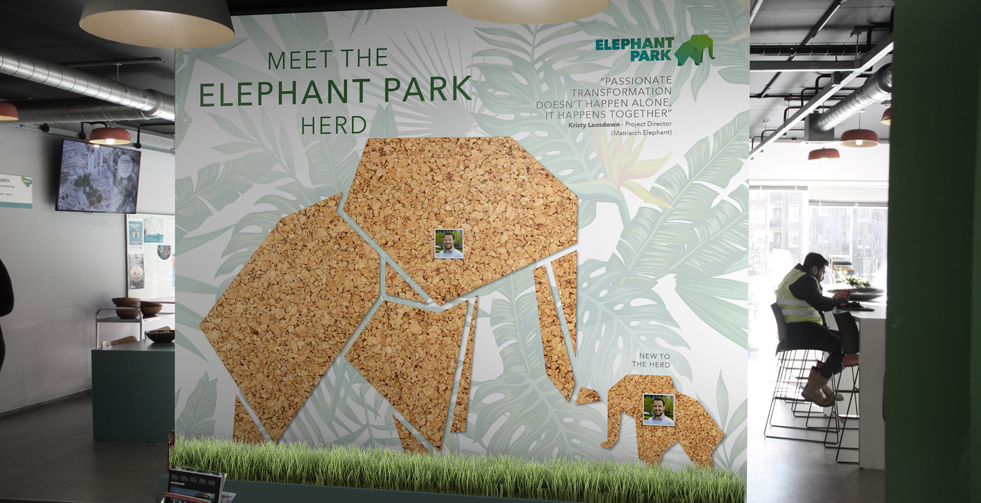 Elephant Park Creative internal entry wall artwork
