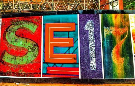 Wall graffiti in Elephant Park with SE17 written